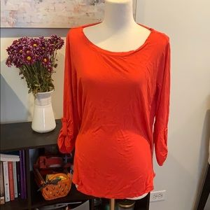 Orange Quarter Sleeve Stretchy Top